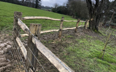 Rustic post and rail installation Heathfield East Sussex